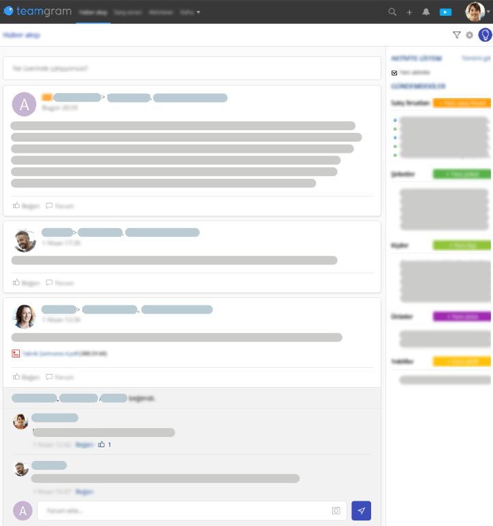 Teamgram CRM has a news feed that makes it easy to catch up with the latest developments at work.