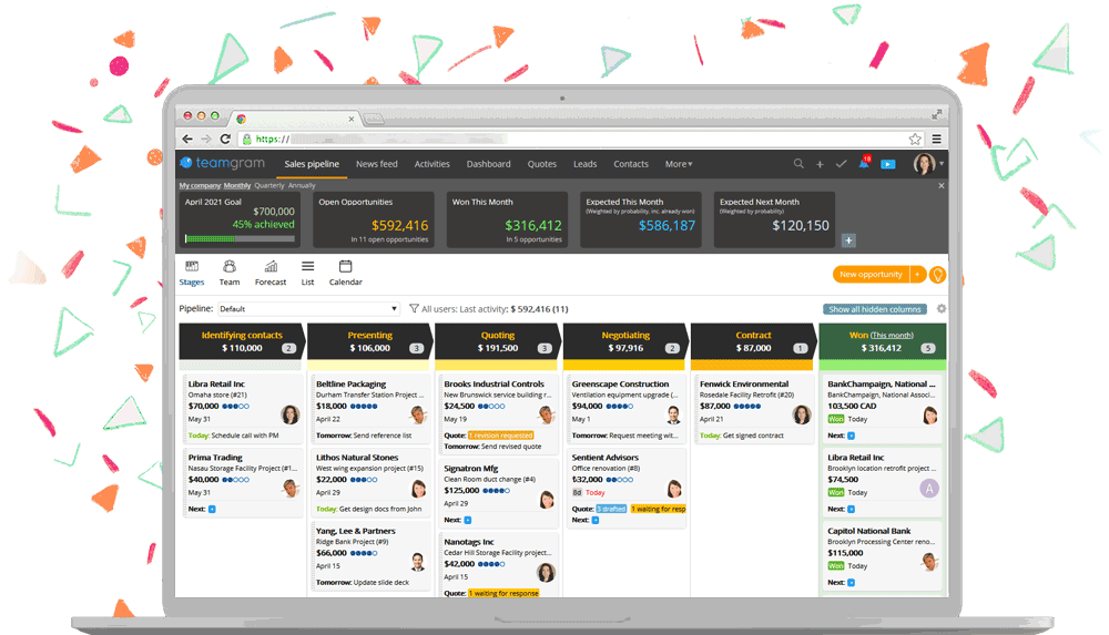 TeamGram CRM has the tools you need to manage sales and grow your business.