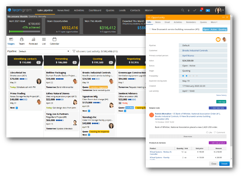Access more details by clicking on the sales opportunities displayed in the sales pipeline view of TeamGram CRM.