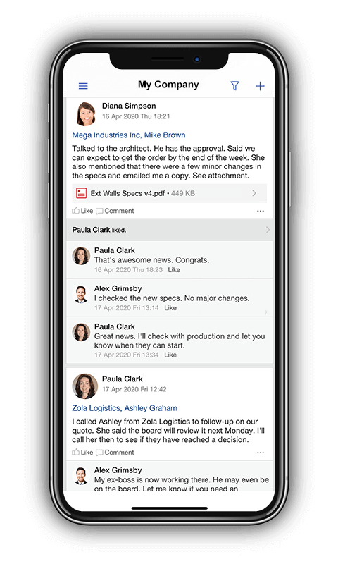 TeamGram CRM's mobile app has a news feed that helps improve communication and information sharing between team members.