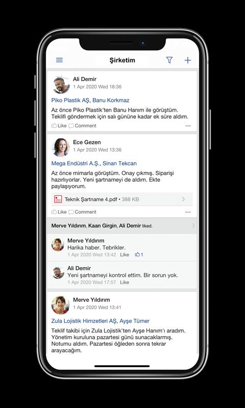 TeamGram CRM mobil uygulamasında haber akışı