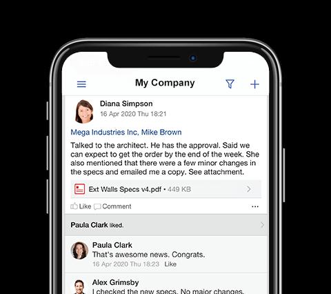 Teamgram CRM mobile app