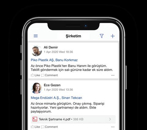 TeamGram CRM mobil uygulaması